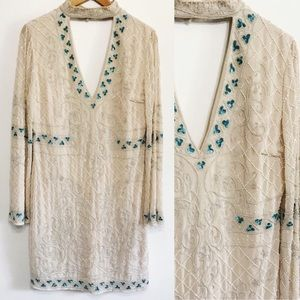 Frock & Frill Beaded Long Sleeve Embroidered Dress